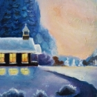 winter-is-coming-church-pines-snow-morning-oil-painting-nature-road-light-landscape-pink-sky