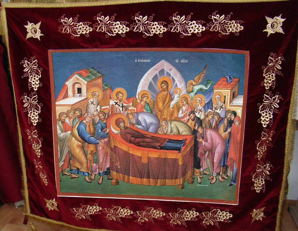 Icoana pe canvas Epitraf - Adormirea Maici Domnului