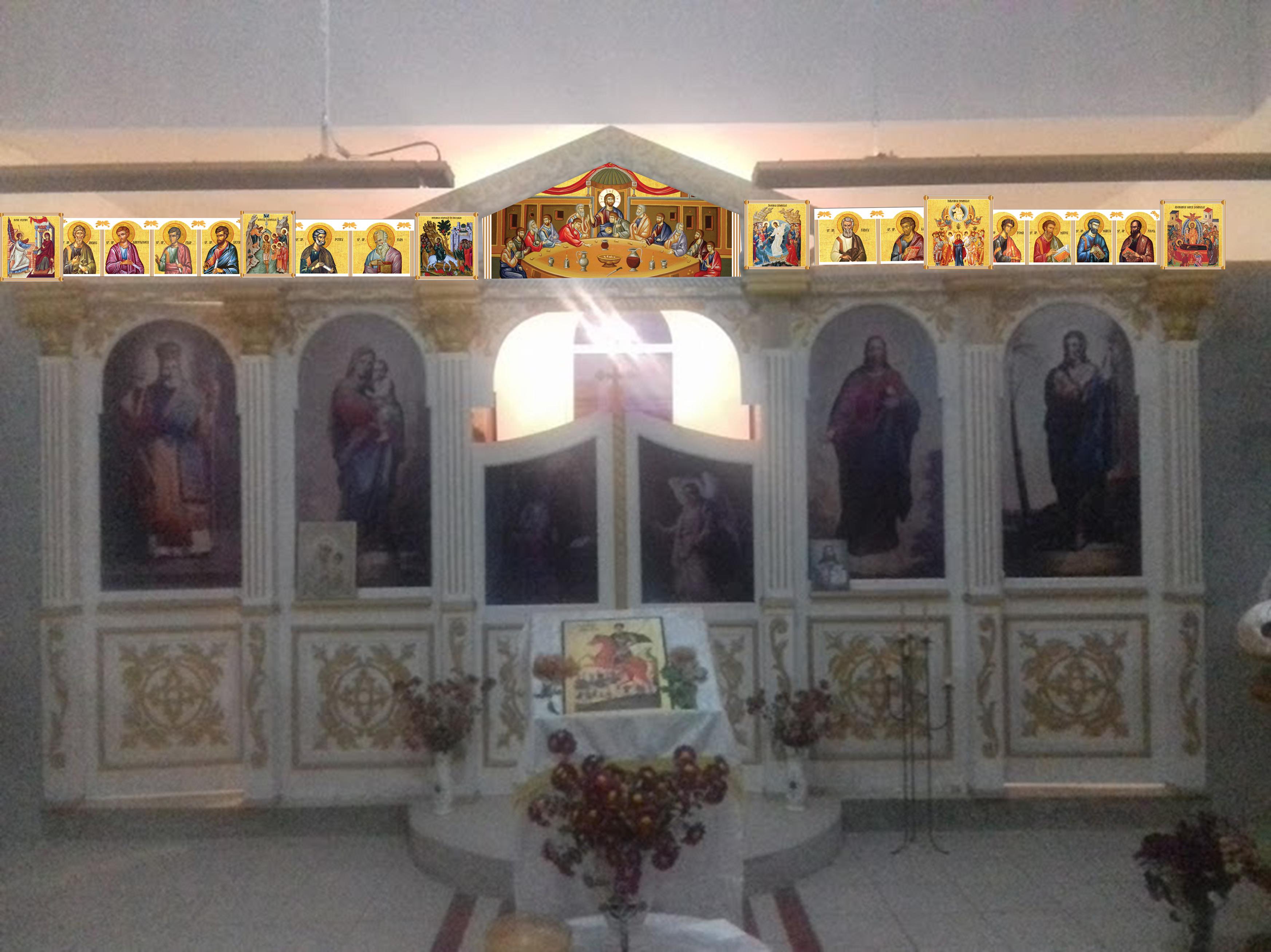 Simulare icoane pe iconostas biserica Ineu