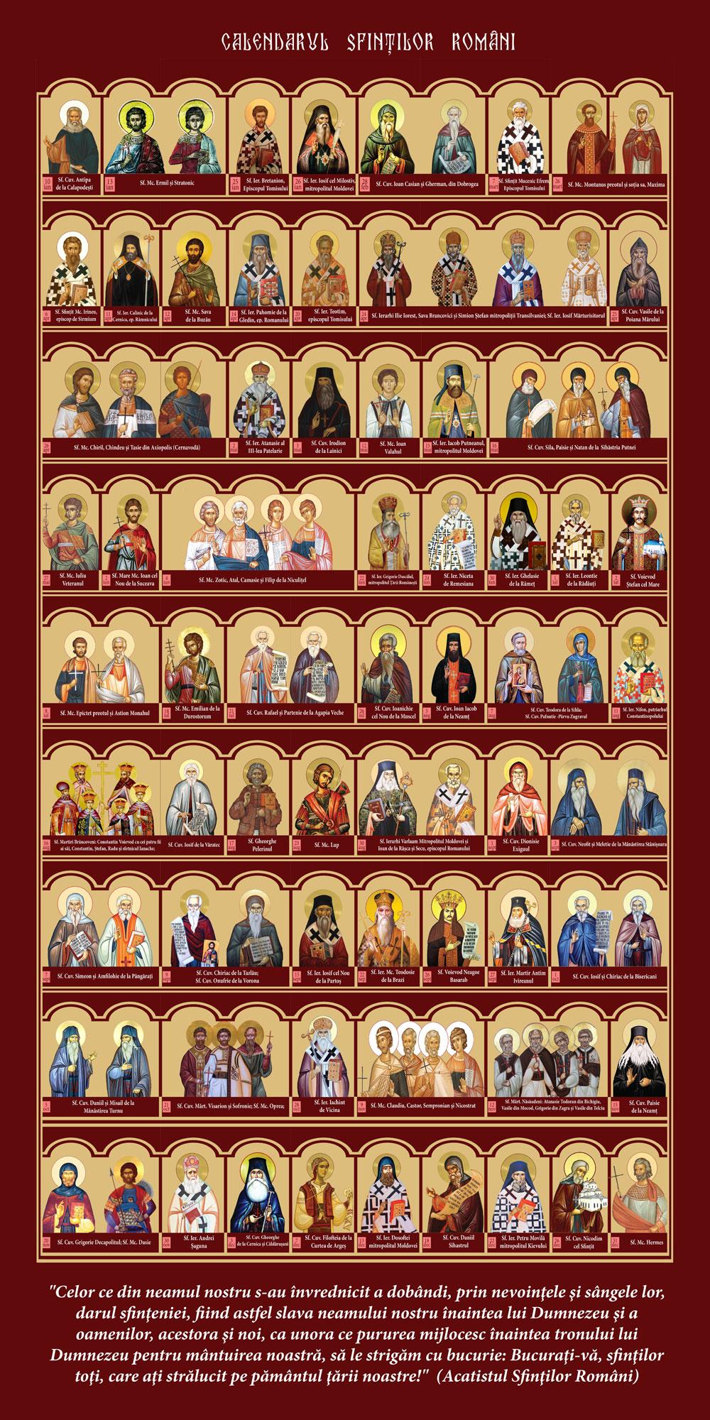 Calendarul Sfintilor Romani